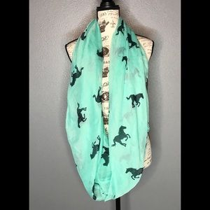 Infinity Scarf Teal with Black Horses large Scarf